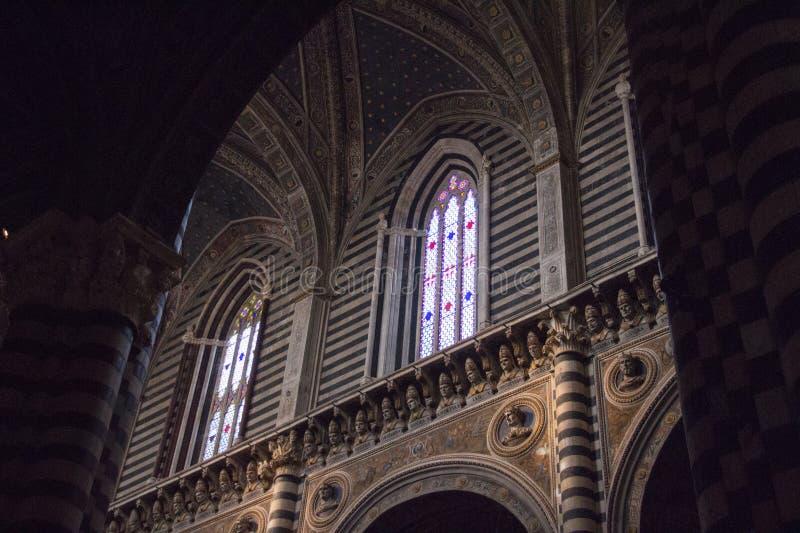 Inre av Duomodina Siena Storstads- domkyrka av Santa Maria Assunta tuscany italy arkivfoto
