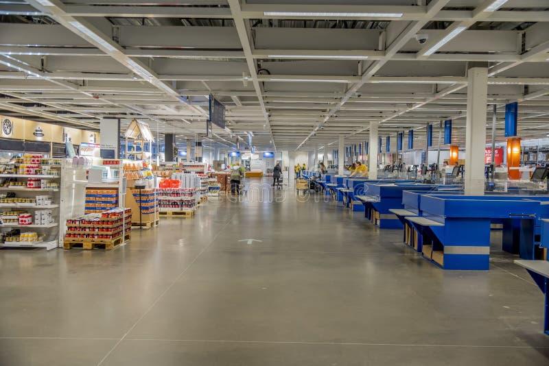 Inre av en livsmedelsmarknad som fångats i Dallas i Förenta staterna royaltyfri bild