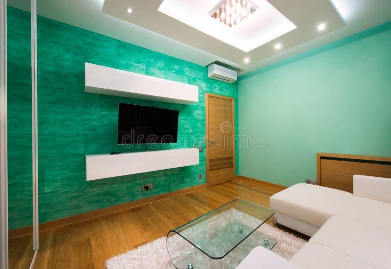 Inre av en modern grön vardagsrum med lyxigt takljus royaltyfri foto