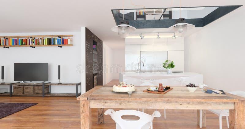 Inre av en vardagsrum med kök och äta middag område stock illustrationer