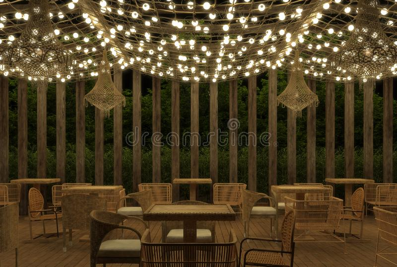 Inre av ett kafé för öppen luft för sommar i etnisk retro stil med garneringar av lysande girlander och vide- möblemang på nattno stock illustrationer
