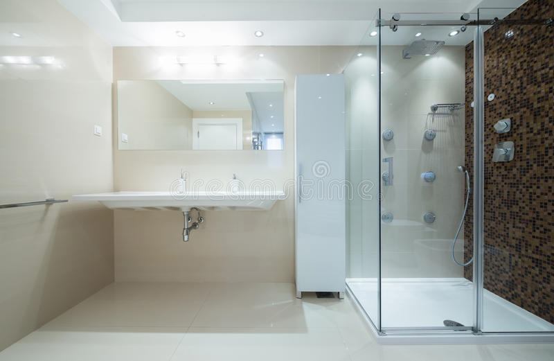 Inre av ett modernt badrum med duschkabinen arkivfoto
