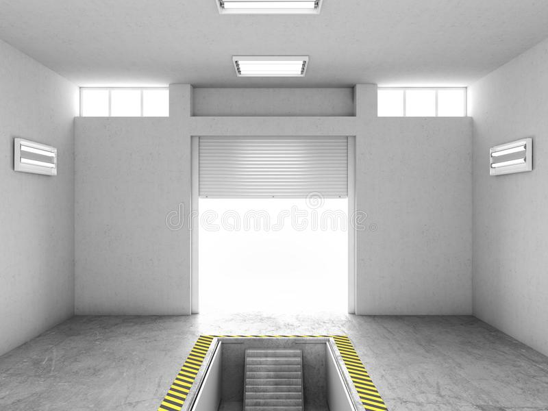 Inre av ett tomt garage, med en öppen reparationsgrop illustration 3d stock illustrationer