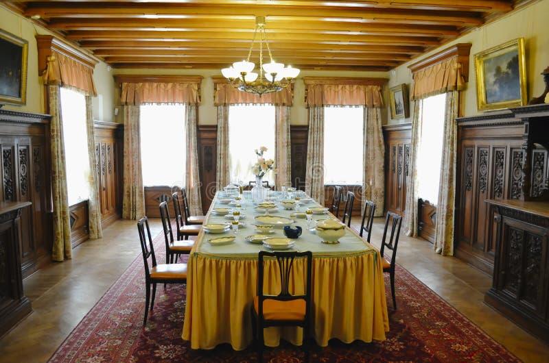 Inre av främre matsal i den Masandra slotten, Krim fotografering för bildbyråer