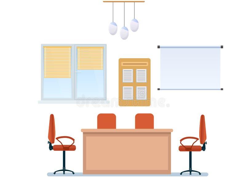 Inre av funktionsdugligt rum för kontor med möblemang, växelverkande whiteboard, ljuskrona royaltyfri illustrationer