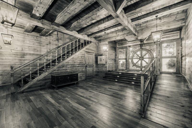 Inre av gammalt piratkopierar skeppet arkivbild