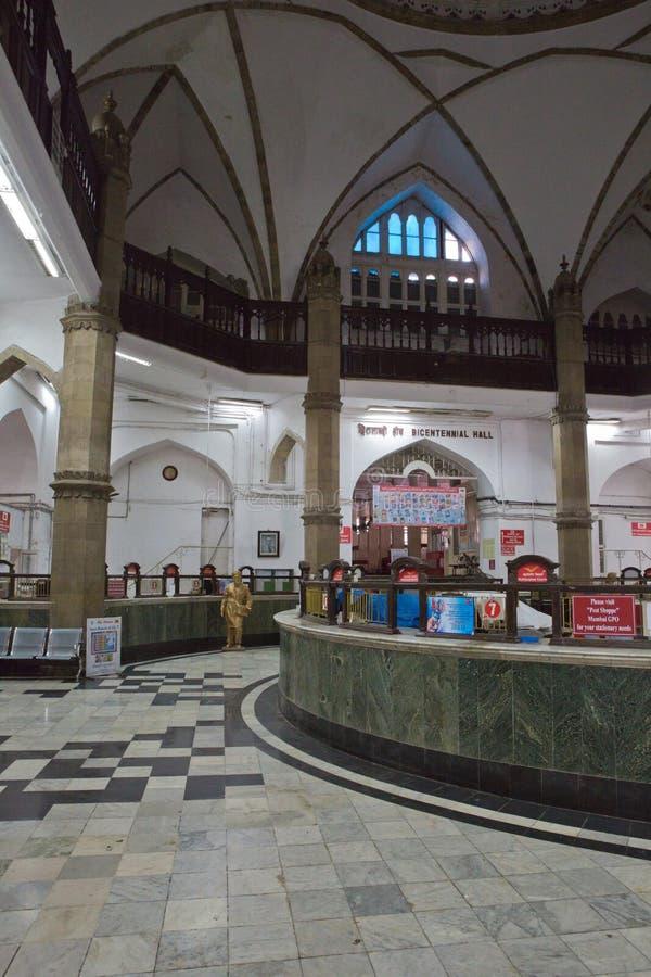 Inre av generalen & x28en; Central& x29; Stolpe - kontor Mumbai arkivbilder