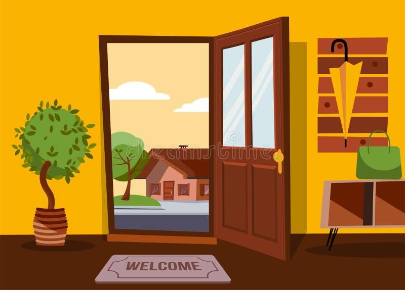 Inre av hallet i plan tecknad filmstil med den öppna dörren som förbiser sommarlandskap med det lilla landshuset och det gröna tr royaltyfri illustrationer