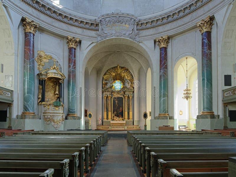 Inre av Hedvig Eleonora Church i Stockholm royaltyfri fotografi