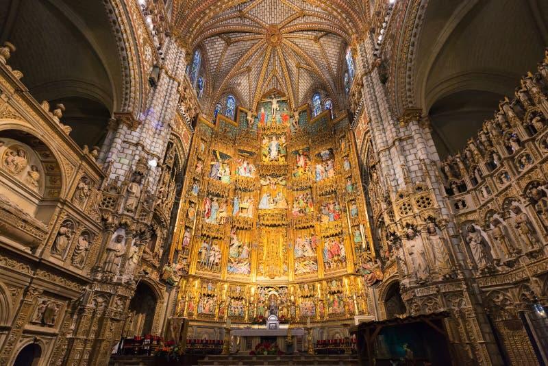 Inre av helgonet Mary Cathedral i Toledo royaltyfri foto