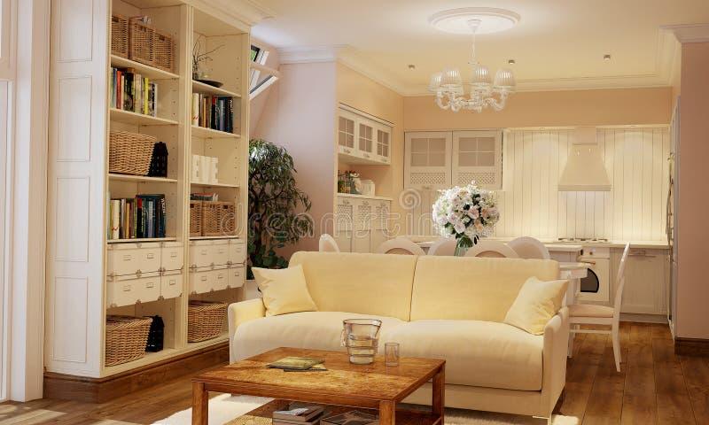 Inre av kök och vardagsrum i Provence utformar med vitt möblemang arkivbild