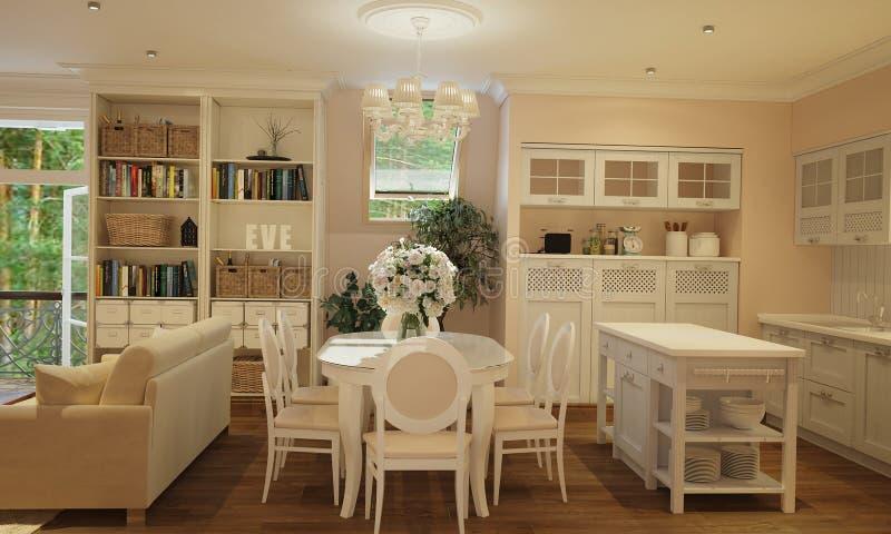 Inre av kök och vardagsrum i Provence utformar med vitt möblemang royaltyfri bild