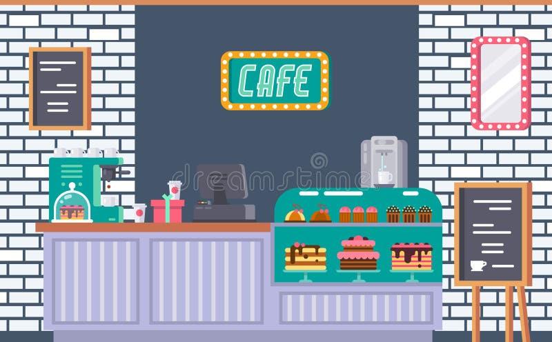 Inre av kafébyggnadsfasaden, modernt coffeeshoplager stock illustrationer