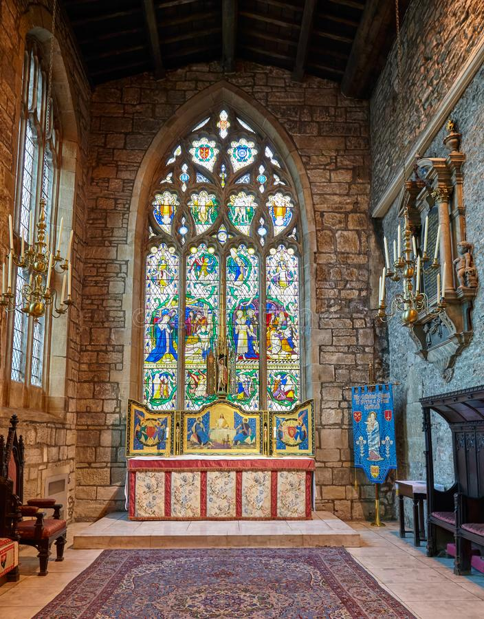 Inre av kapellet för St Katharines i Sheffield Cathedral, Sheffield england royaltyfri bild