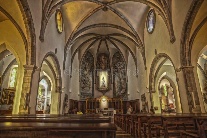 Inre av kapellet i Lloret de Mar Kyrktaga i centret som byggs i gotisk stil arkivbild