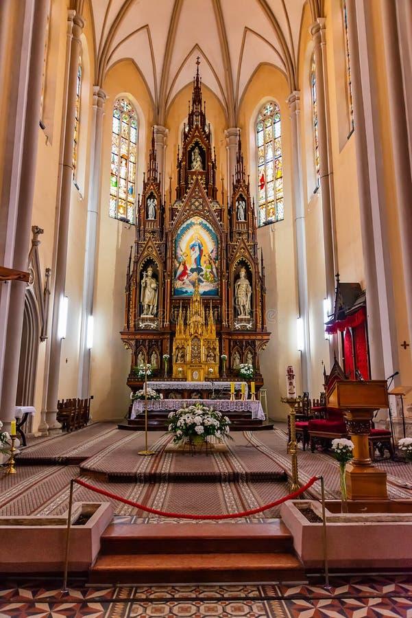 Inre av katolska kyrkornas namn av Mary Church ', Novi Sad, Serbien fotografering för bildbyråer