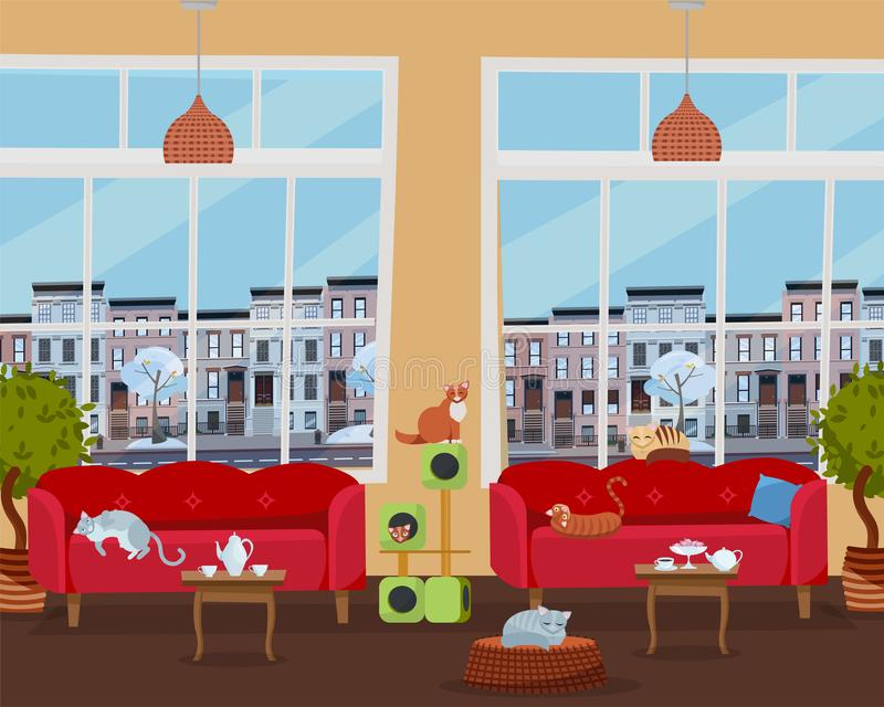 Inre av kattkaf?t med stora f?nster, bekv?ma r?da soffor, tabeller med te och kaffe M?nga katter p? m?blemang- och katthus royaltyfri illustrationer