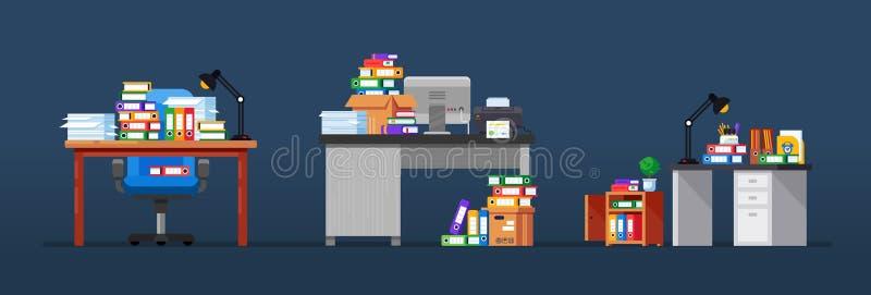 Inre av kontorsarbetsplatser, med tabeller, funktionsduglig utrustning, bergdokument royaltyfri illustrationer