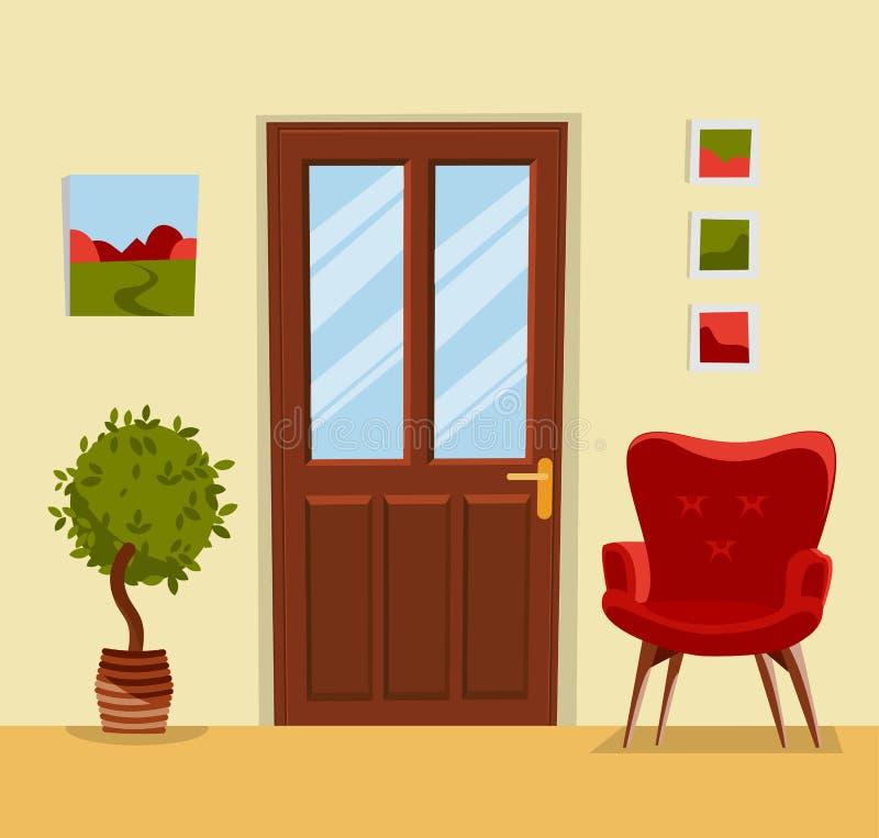 Inre av korridoren med en stängd brun trädörr, en hemtrevlig röd fåtölj, ett träd i en kruka och målningar på väggarna hall stock illustrationer