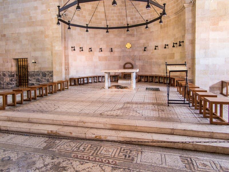Inre av kyrkan av den första matningen av mängden på royaltyfria foton