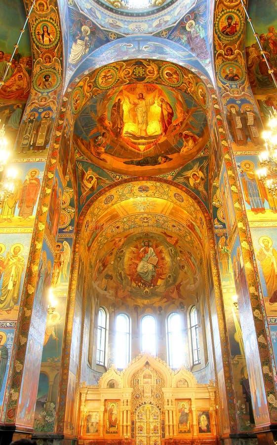 Inre av kyrkan av frälsaren på spillt blod i helgon P royaltyfri fotografi