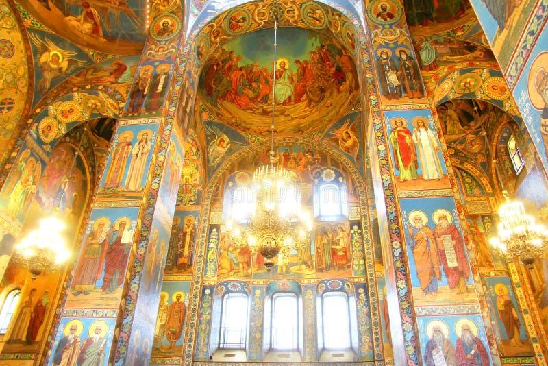 Inre av kyrkan av frälsaren på spillt blod i helgon P fotografering för bildbyråer