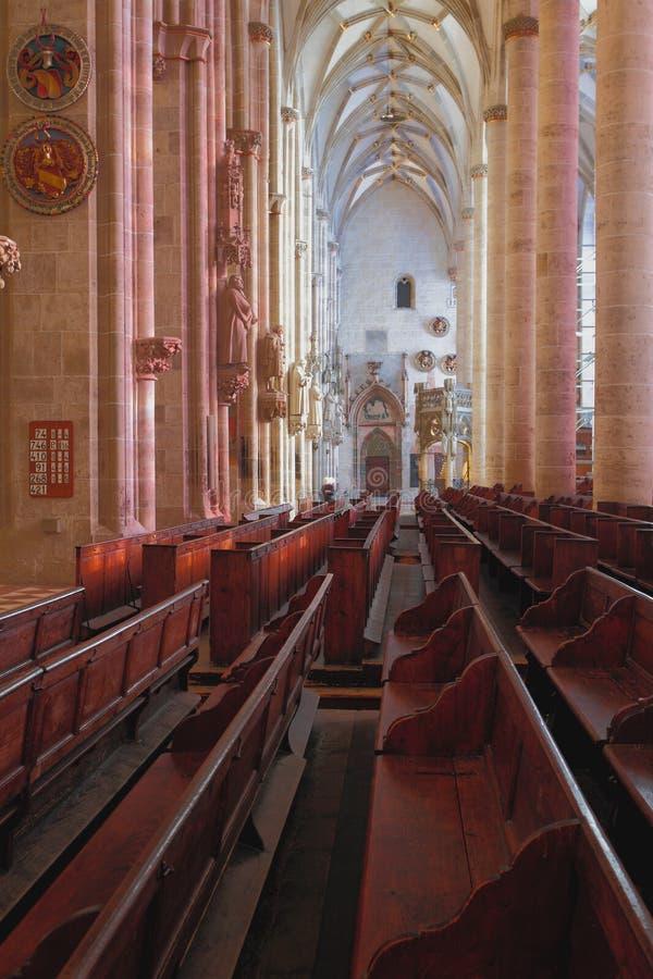 Inre av Lutherankyrkan Ulm Baden-Wrttemberg, Tyskland arkivbild