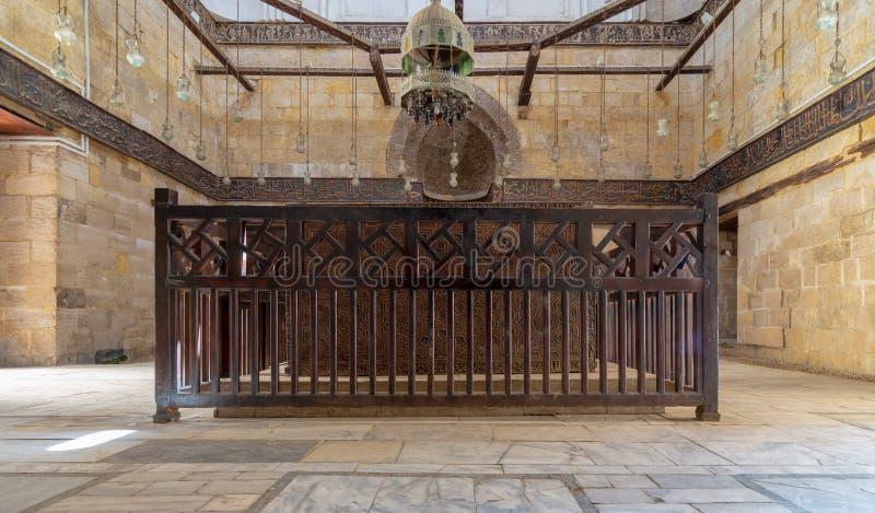 Inre av mausoleet av al-SalihNagm Annons-buller Ayyub i 1242-44, Al Muizz Street, gammal Kairo, Egypten arkivfoto