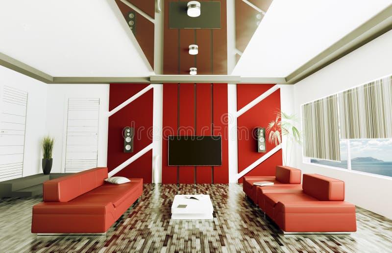 Inre av modern vardagsrum 3d framför royaltyfri illustrationer