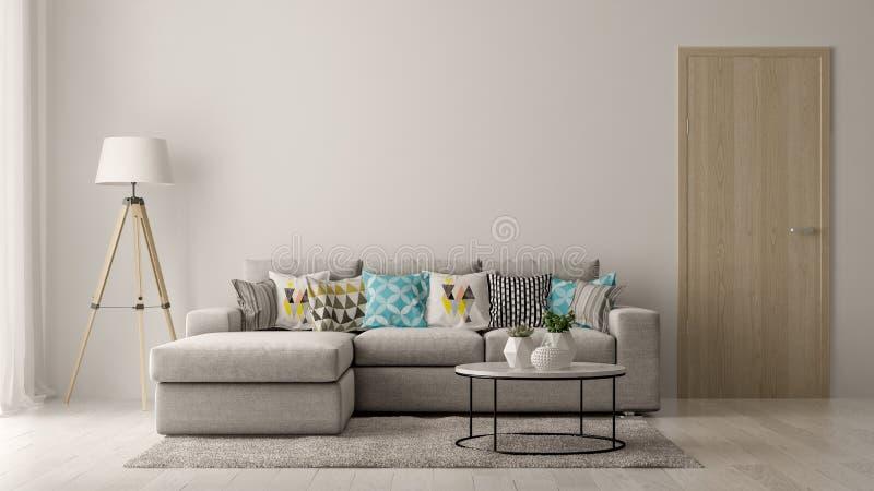 Inre av modern vardagsrum med den soffa- och för möblemang 3D tolkningen royaltyfri bild