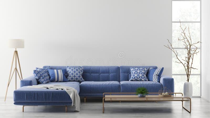 Inre av modern vardagsrum med tolkningen för soffa 3d vektor illustrationer