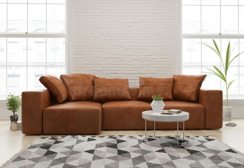 Inre av modern vardagsrum med tolkningen f?r soffa 3d royaltyfri bild