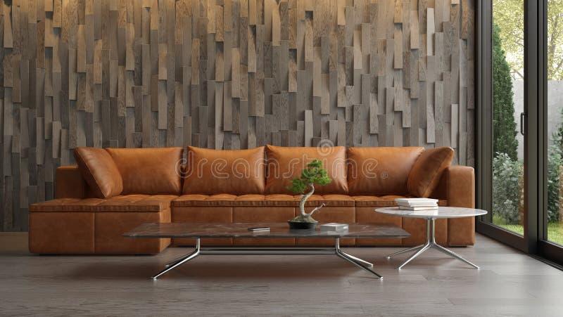 Inre av modern vardagsrum med tolkningen f?r soffa 3d royaltyfria bilder