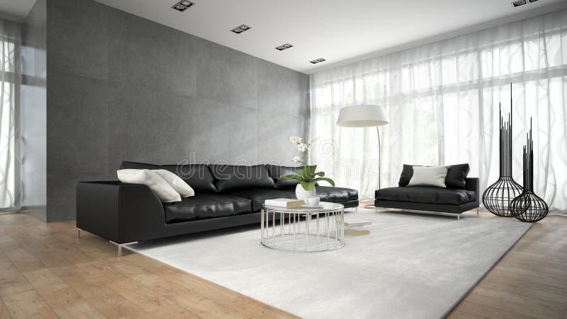Inre av modernt rum med den svarta soffan 3D som framför 2 arkivbilder