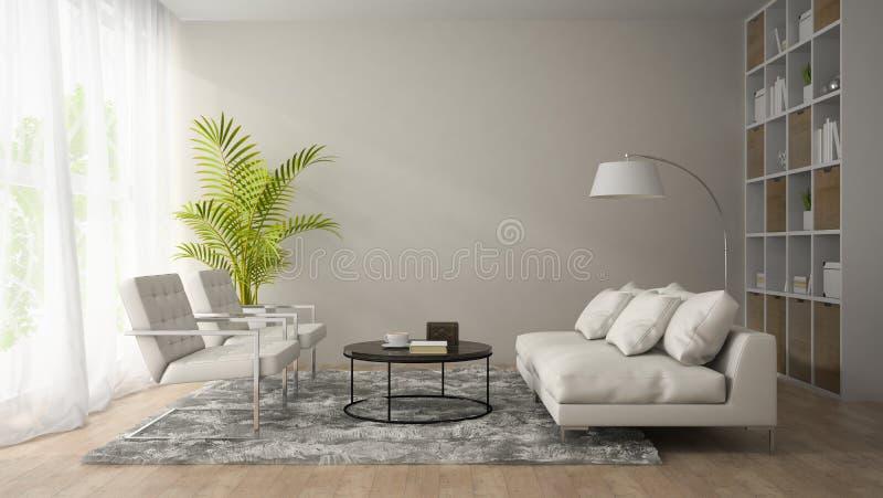 Inre av modernt rum med den vita fåtölj- och för soffa 3D renderien arkivbild