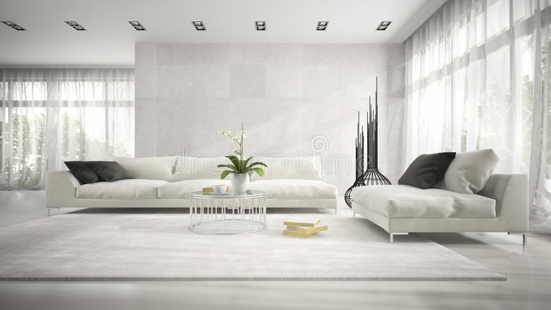 Inre av modernt rum med den vita tolkningen för soffa 3D stock illustrationer