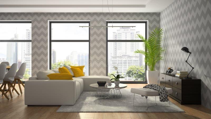 Inre av rum för den moderna designen med grå färger tapetserar tolkningen 3D royaltyfri bild
