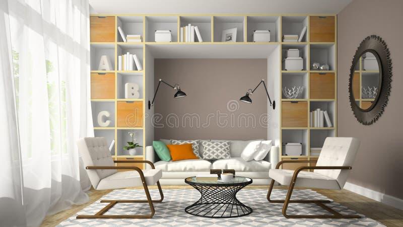 Inre av rum för den moderna designen med två vit fåtölj 3D framför arkivbild