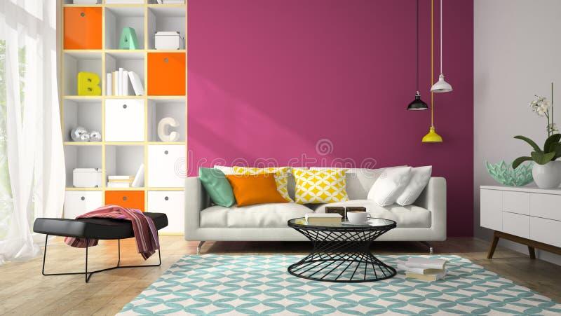Inre av rum för modern design med den purpurfärgade väggen 3D som framför 2 arkivbild