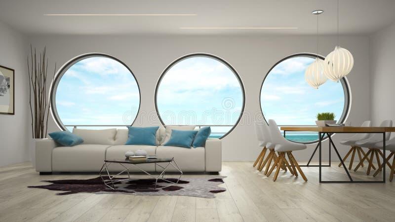Inre av rum för modern design med tolkningen för havssikt 3D arkivbild