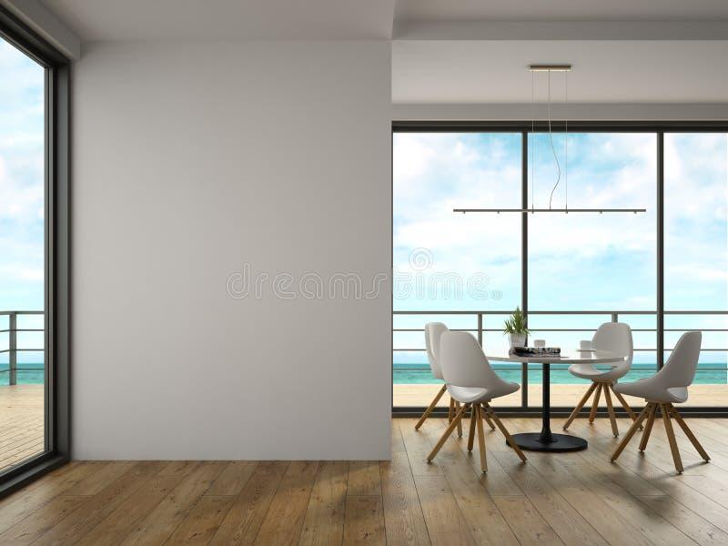 Inre av rum för modern design med tolkningen för havssikt 3D royaltyfri foto
