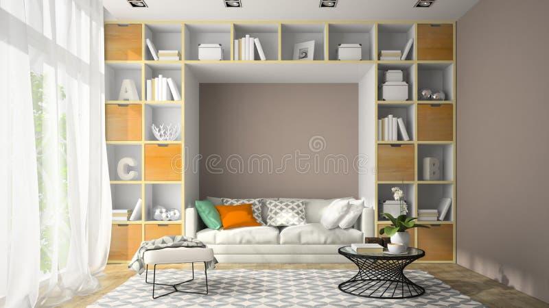Inre av rum för modern design med tolkningen för hyllavägg 3D royaltyfri bild