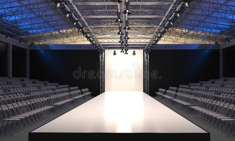 Inre av salongen med det tomma podiet för modeshower Modelandningsbana, innan att börja av trendig skärm visuali 3D stock illustrationer