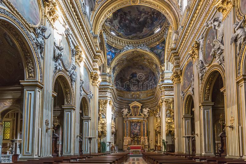 Inre av Santa Maria i Vallicella, kallade också Chiesa Nuova i Rome, Italien royaltyfri foto