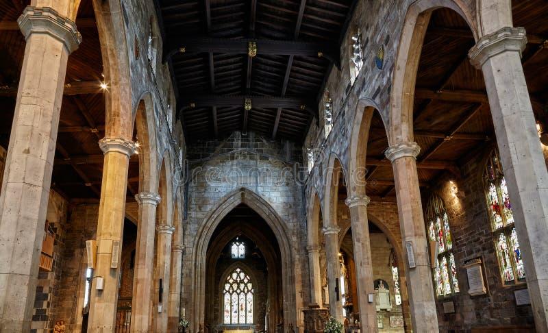 Inre av Sheffieldens Cathedrals skepp sheffield england fotografering för bildbyråer
