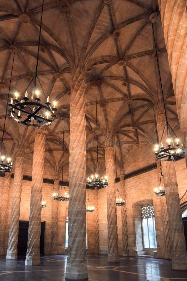 Inre av siden- marknadsutbytesbyggnad, Valencia, Spanien arkivbilder