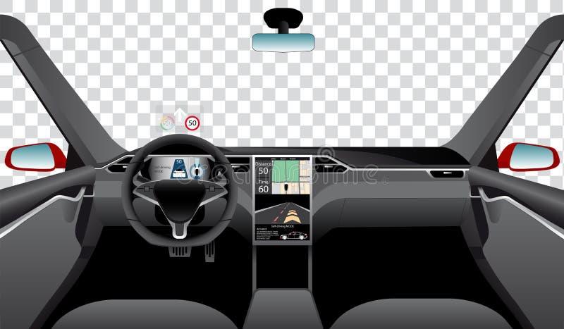 Inre av själven som kör bilen med för navigering, för strömförsörjning och för huvud skärmar upp stock illustrationer