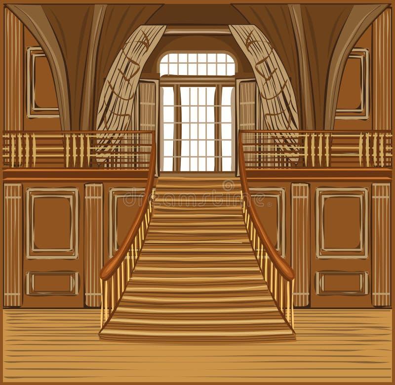 Inre av slotten royaltyfri illustrationer