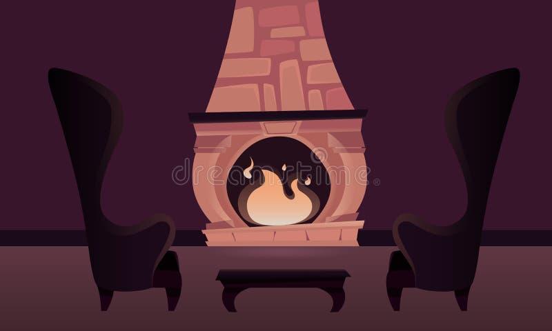 Inre av slotten med en spis stock illustrationer