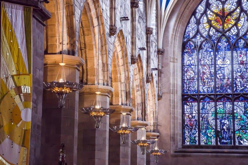 Inre av St Giles Cathedral, Edinburg, detalj royaltyfri fotografi
